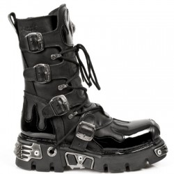 NEW ROCK METALLIC M.591-S4 BLACK LEATHER PATENT FLAME REACTOR SOLE BOOTS