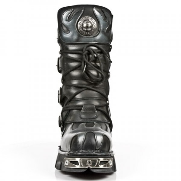 NEW ROCK METALLIC M.591-S2 BLACK LEATHER SILVER FLAME REACTOR SOLE BOOTS 13559568a