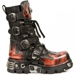 NEW ROCK METALLIC M.591-S1 BLACK LEATHER RED FLAME REACTOR SOLE BOOTS
