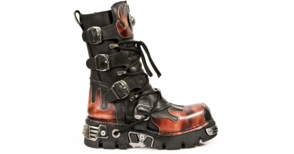 NEW ROCK METALLIC M.591-S1 BLACK LEATHER RED FLAME REACTOR SOLE BOOTS 67fafbc4c