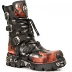 NEW ROCK METALLIC M.591-S1 BLACK LEATHER RED FLAME REACTOR SOLE BOOTS, METALLIC, METALLIC M.591-S1, METALLIC M.591-S1,