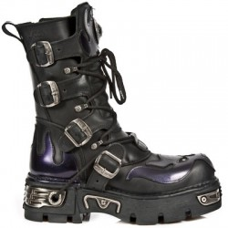 NEW ROCK METALLIC M.107-S4 BLACK LEATHER PURPLE DEVIL REACTOR SOLE BOOTS