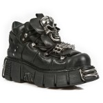 NEW ROCK METALLIC M.111-S1 BLACK LEATHER SKULL & CHAIN TOWER SOLE SHOES, METALLIC, METALLIC M.111-S1, METALLIC M.111-S1,