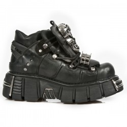 NEW ROCK METALLIC M.111-S1 BLACK LEATHER SKULL & CHAIN TOWER SOLE SHOES