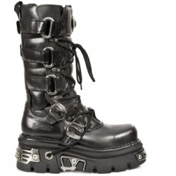 NEW ROCK METALLIC M.474-S1 BLACK LEATHER KNEE LENGTH REACTOR E14 VELCRO STRAPS BOOTS