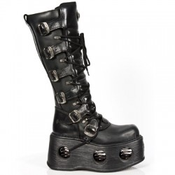 NEW ROCK METALLIC M.272-S2 BLACK LEATHER KNEE LENGTH NEPTUNO SPACE SOLE BOOTS
