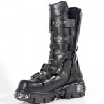NEW ROCK METALLIC M.134-S1 BLACK LEATHER KNEE LENGTH REACTOR E14 VELCRO STRAPS BOOTS, METALLIC, METALLIC M.134-S1, METALLIC M.134-S1,