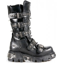 NEW ROCK METALLIC M.134-S1 BLACK LEATHER KNEE LENGTH REACTOR E14 VELCRO STRAPS BOOTS