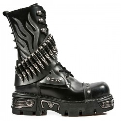 NEW ROCK METALLIC M.297-S1 BLACK LEATHER BULLITS AMMUNITION KNEE LENGTH REACTOR SOLE BOOTS