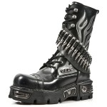 NEW ROCK METALLIC M.297-S1 BLACK LEATHER BULLITS AMMUNITION KNEE LENGTH REACTOR SOLE BOOTS, METALLIC, METALLIC M.297-S1, METALLIC M.297-S1,