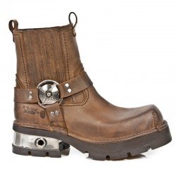 NEW ROCK NEOBIKER M.1605-S2 VENTURE AVIATOR BROWN STEEL LEATHER BOOTS