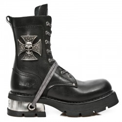 NEW ROCK NEOBIKER M.1623-S1 BLACK HOLE STEEL LEATHER BOOTS