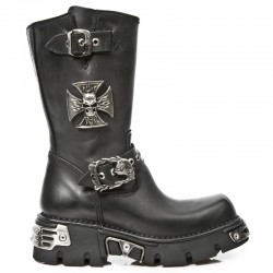 NEW ROCK NEOBIKER M.1601-S1 BLACK REACTOR LEATHER BOOTS