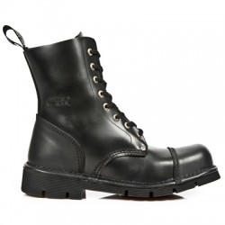 NEW ROCK NEWMILI M.NEWMILI083-S1 BLACK LEATHER LACE UP BOOTS