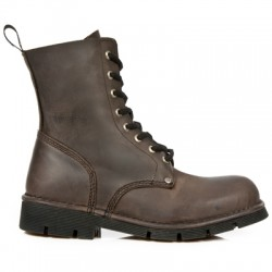 NEW ROCK NEWMILI M.NEWMILI084-S2 BROWN LEATHER LACE UP BOOTS