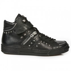 NEW ROCK PISA M.PS007-S1 BLACK LEATHER LACE UP SHOES