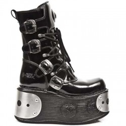 NEW ROCK SPACE M.1473-C1 PLATFORM BLACK PATENT ARRUGADO