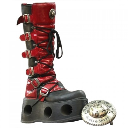 NEW ROCK SPACE M.272-C20 BLACK RED PATENT LEATHER BOOTS, SPACE, SPACE M.272-C20, SPACE M.272-C20,