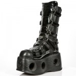 NEW ROCK SPACE M.309-C4 BLACK PATENT SMOOTH LEATHER PLATFORM, SPACE, SPACE M.309-C4, SPACE M.309-C4,