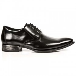 NEW ROCK VIP-1 M.2243-S11 BLACK Leather Steel Heel LACE UP Shoes