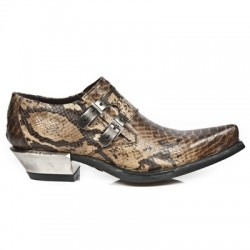 NEW ROCK WEST M.7934-S5 Tan Snake Skin Leather Steel Heel Western Shoes