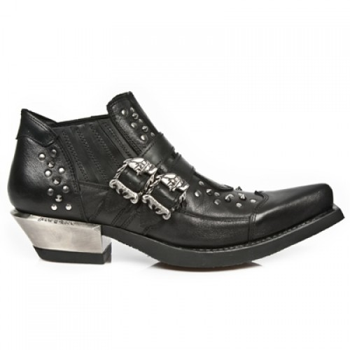 NEW ROCK WEST M.7956-S1 Studded Black Leather Steel Heel Western Ankle Boots, WEST, WEST M.7956-S1, WEST M.7956-S1,
