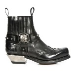 NEW ROCK WEST M.7966-S1 Black Leather Flames Steel Heel Western Ankle Boots, WEST, WEST M.7966-S1, WEST M.7966-S1,