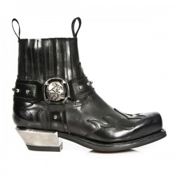 NEW ROCK WEST M.7966-S1 Black Leather Flames Steel Heel Western Ankle Boots