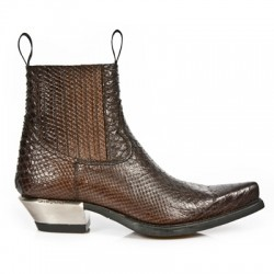 NEW ROCK WEST M.7953-S3 Brown Snake skin Leather Steel Heel Western Ankle Boots