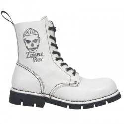 NEW ROCK ZOMBIE BOY M.NEWMILI084-Z6 NAPA WHITE WITH EMBROIDERY IN CANE LEATHER BOOTS