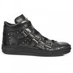 NEW ROCK ZOMBIE BOY M.PS007-Z1 NOMAD BLACK, EMBROIDERY, PISA LEATHER ANKLE BOOTS