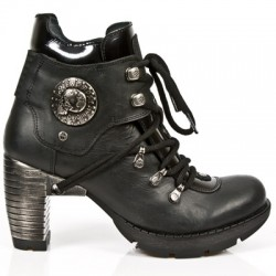 NEW ROCK TRAIL M.TR010-S1 BLACK STEEL HEEL LEATHER BOOTS