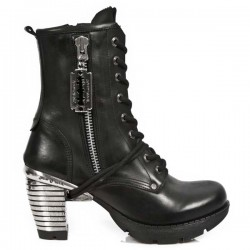 NEW ROCK TRAIL M.TR028-S1 BLACK STEEL HEEL LEATHER BOOTS