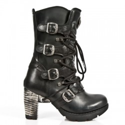 NEW ROCK TRAIL M.TR003-S1 BLACK STEEL HEEL LEATHER BOOTS