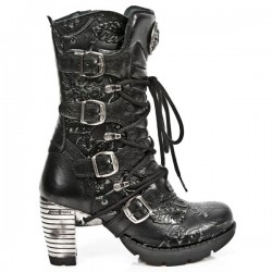 NEW ROCK TRAIL M.TR003-S8 VINTAGE FLOWER BLACK STEEL HEEL LEATHER BOOTS