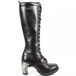 NEW ROCK TRAIL M.TR005-S1 BLACK STEEL HEEL LEATHER BOOTS