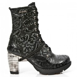 NEW ROCK TRAIL M.TR001-S24 VINTAGE FLOWER BLACK STEEL HEEL LEATHER BOOTS