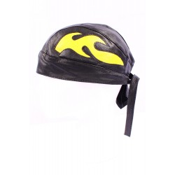 BANDANA Black & Yellow Flames Motorcycle Real Lambskin Leather Zandana Pre-Tied