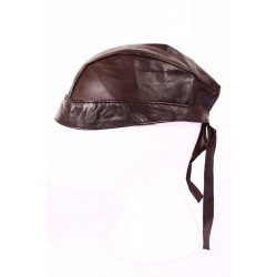 BANDANA BROWN Lambskin Motorcycle Motorbike Real Leather Zandana Pre-Tied
