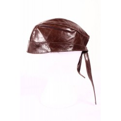 BANDANA BROWN Glazed Lambskin Motorcycle Motorbike Real Leather Zandana Pre-Tied