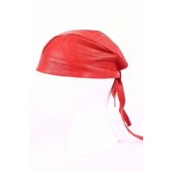 BANDANA Red Glazed Lambskin Motorcycle Motorbike Real Leather Zandana Pre-Tied