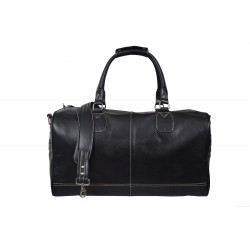 'HOLDALL' Black Large Weekend Duffle Travel Gym Real Genuine Leather Bag