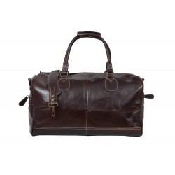 'HOLDALL' Brown Large Weekend Duffel Travel Gym Real Genuine Leather Bag