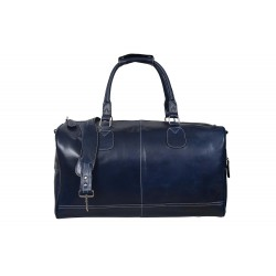 'HOLDALL' Blue Large Weekend Duffle Travel Gym Real Genuine Leather Bag