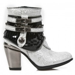NEW ROCK TEXAS M.TX002-C8 NAPA BLACK WHITE PATENT LEATHER HEEL BLACK TEXAS