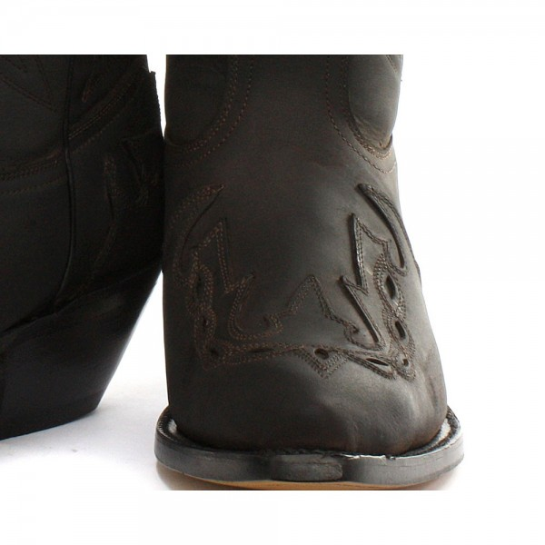 Grinders Arizona Black Unisex Leather Boot Cowboy Western Slip On Pointed Boots
