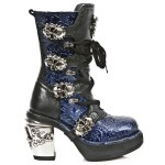 NEW ROCK NRK SKULL M.8366-S2 VINTAGE PATENT BLUE LEATHER STEEL HEEL BOOT, NRK SKULL, NRK SKULL M.8366-S2, ,