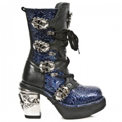 NEW ROCK NRK SKULL M.8366-S2 VINTAGE PATENT BLUE LEATHER STEEL HEEL BOOT