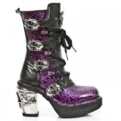 NEW ROCK NRK SKULL M.8366-S3 VINTAGE LILAC PATENT LEATHER STEEL HEEL BOOT