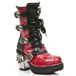 NEW ROCK NRK SKULL M.8366-S4 VINTAGE RED PATENT LEATHER STEEL HEEL BOOT, NRK SKULL, NRK SKULL M.8366-S4, ,